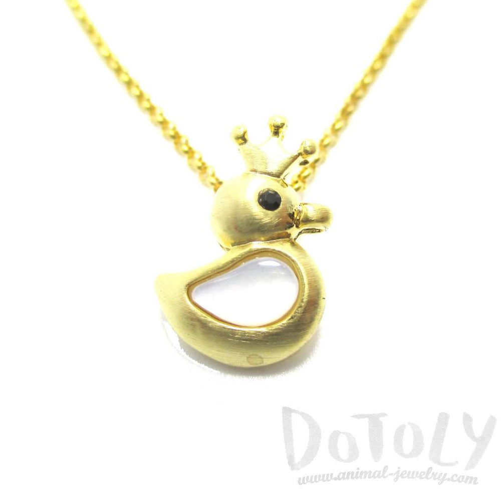 Rubber Ducky Shaped Pearl Pendant Necklace in Gold