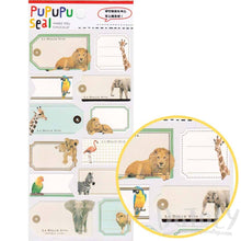Safari Animal Lion Elephant Photo Name Tag Stickers