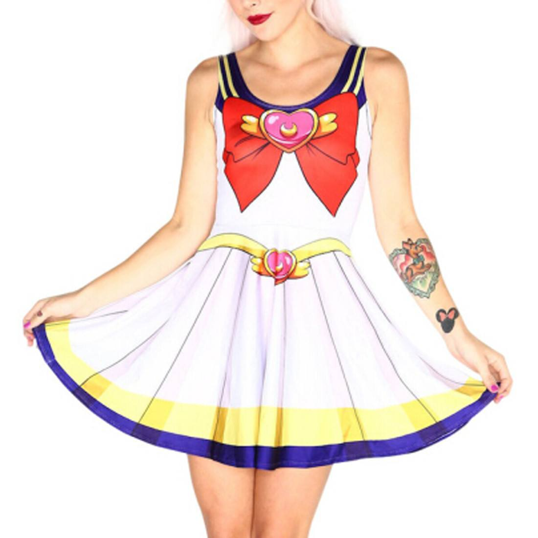 Sailor Moon Anime Inspired Digital Print Skater Dress