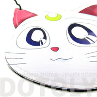 Sailor Moon Artemis Kitty Cat Face Shaped Vinyl Cross Body Bag | DOTOLY