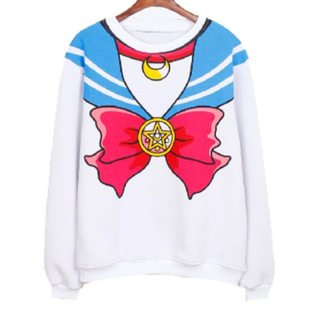 Sailor Moon Cosplay Sailor Outfit Print Crew Neck Pullover Sweater