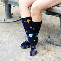 Saturn and Stars Space Print Universe Themed Cotton Socks in Navy | DOTOLY