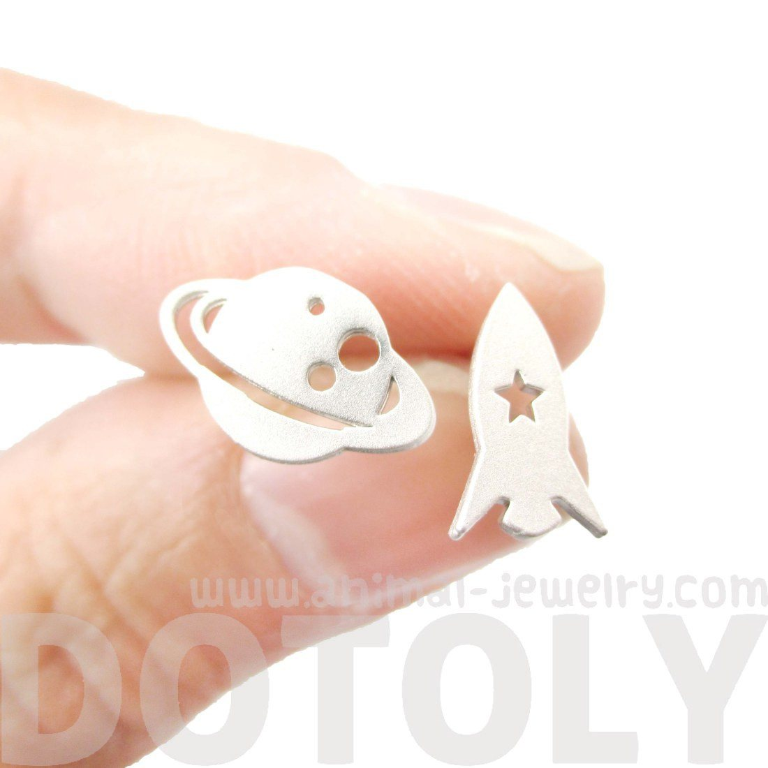 Saturn Spaceship Silhouette Shaped Space Theme Stud Earrings in Silver