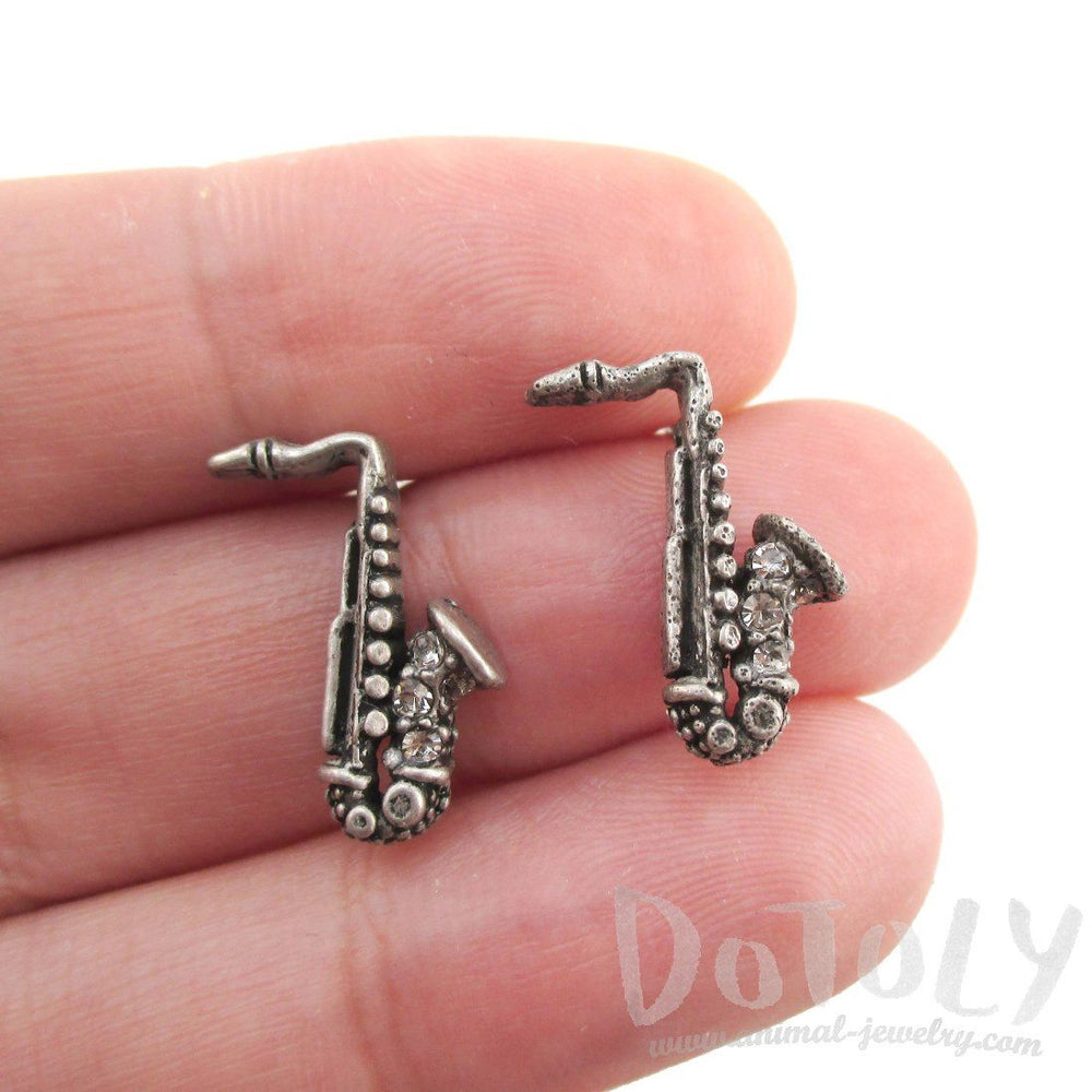 Saxophone Shaped Music Themed Rhinestone Stud Earrings in Silver