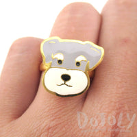 Schnauzer Puppy Dog Face Shaped Adjustable Animal Ring | Limited Edition