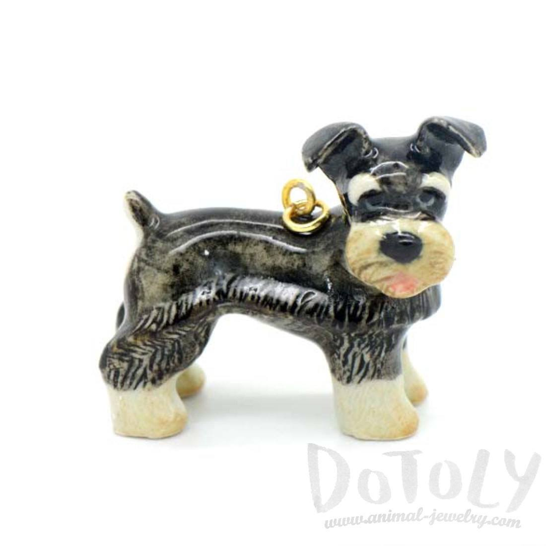 Schnauzer Puppy Dog Porcelain Handmade Ceramic Animal Pendant Necklace
