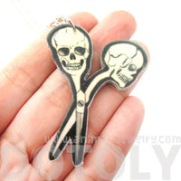Scissors with Skull Shaped Handle Pendant Necklace in Acrylic | DOTOLY | DOTOLY