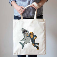 Scuba Diver Shark Punch Print Canvas Tote Shopper Bag | Shark Week