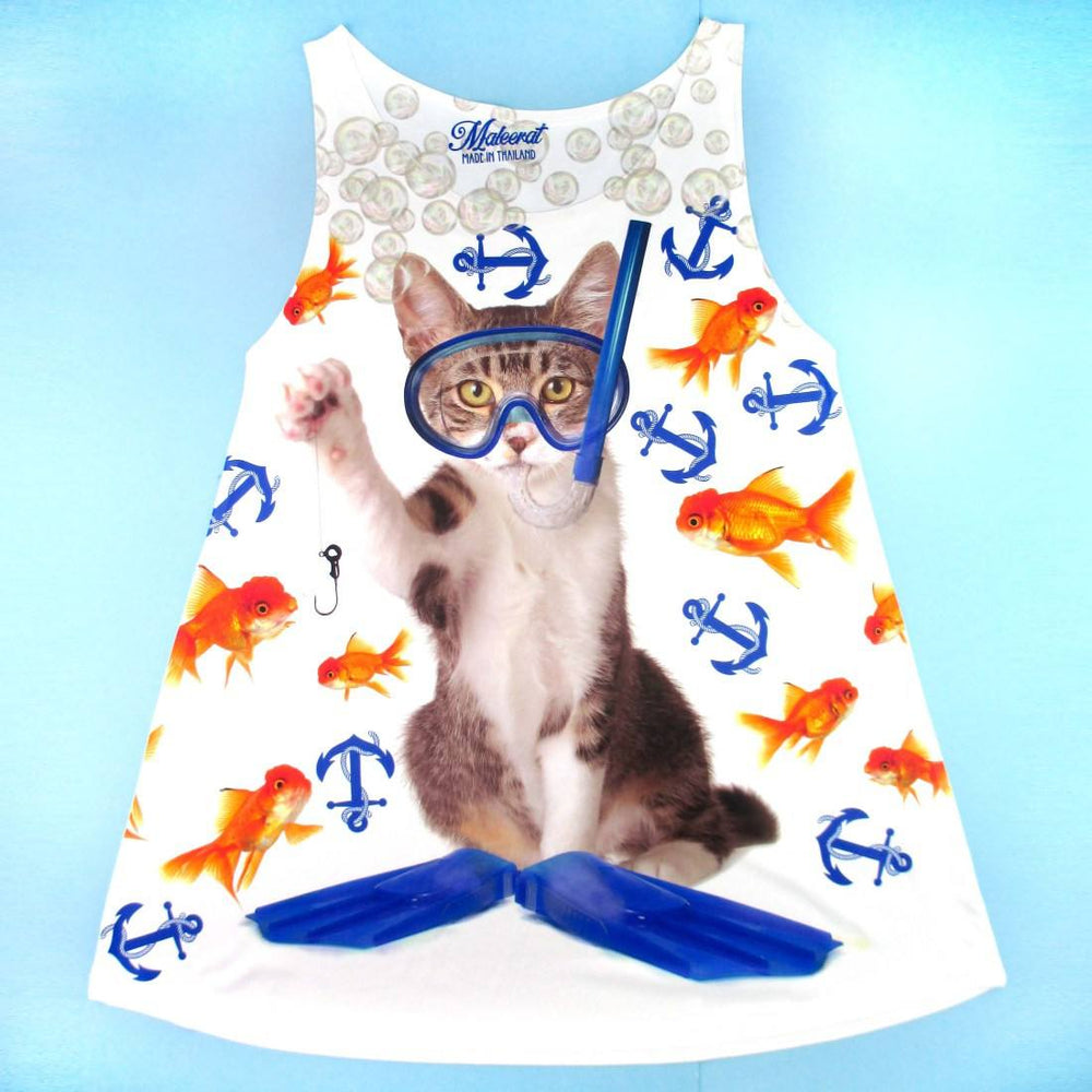 Scuba Diving Kitten with Goldfish Print Photoshopped Cats Tank Top