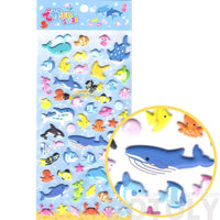Sea Creatures Aquarium Themed Whale Shark Octopus Fish Shaped Puffy Stickers | DOTOLY