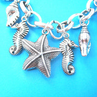 Sea Creatures Themed Seahorse Seashell Dolphins Pendant Necklace
