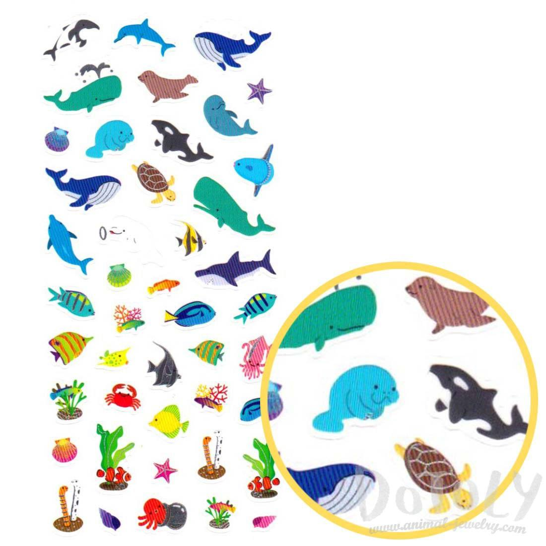 Sea Creatures Whales Manatee Dolphin Shaped Stickers