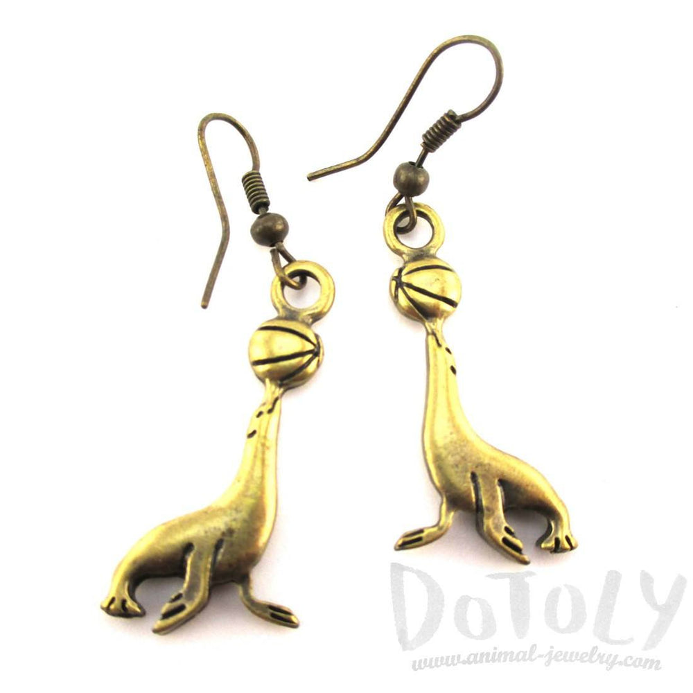 Sea Lion Seal Shaped Charm Dangle Earrings in Brass | Animal Jewelry