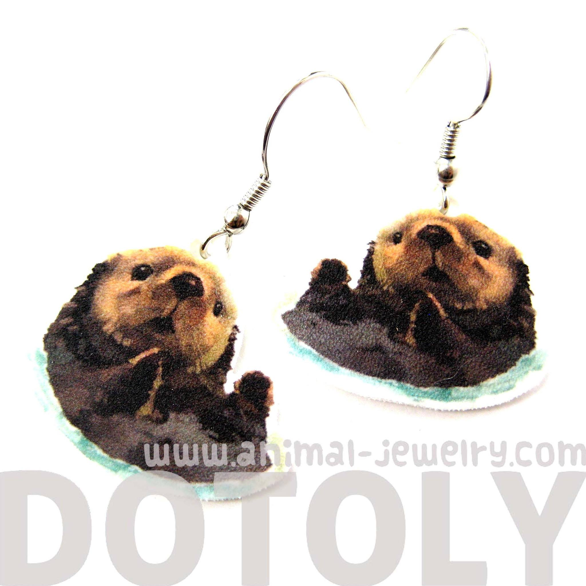 sea-otter-beaver-watercolor-animal-dangle-earrings-handmade-shrink-plastic