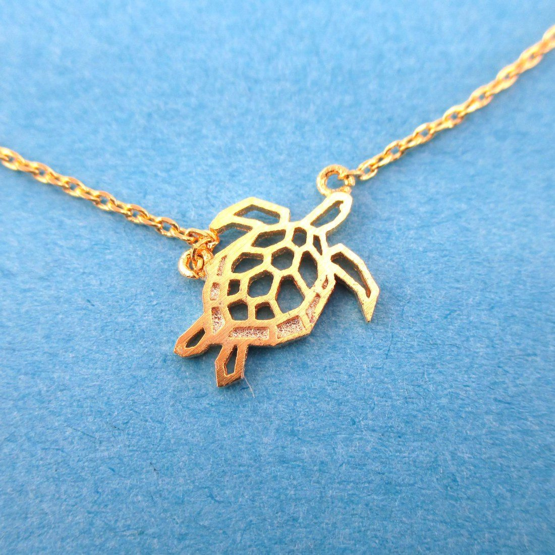 Sea Turtle Tortoise Shaped Pendant Necklace in Gold | DOTOLY