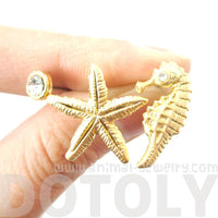 Seahorse Starfish and Rhinestone Allergy Free Stud Earrings in Gold
