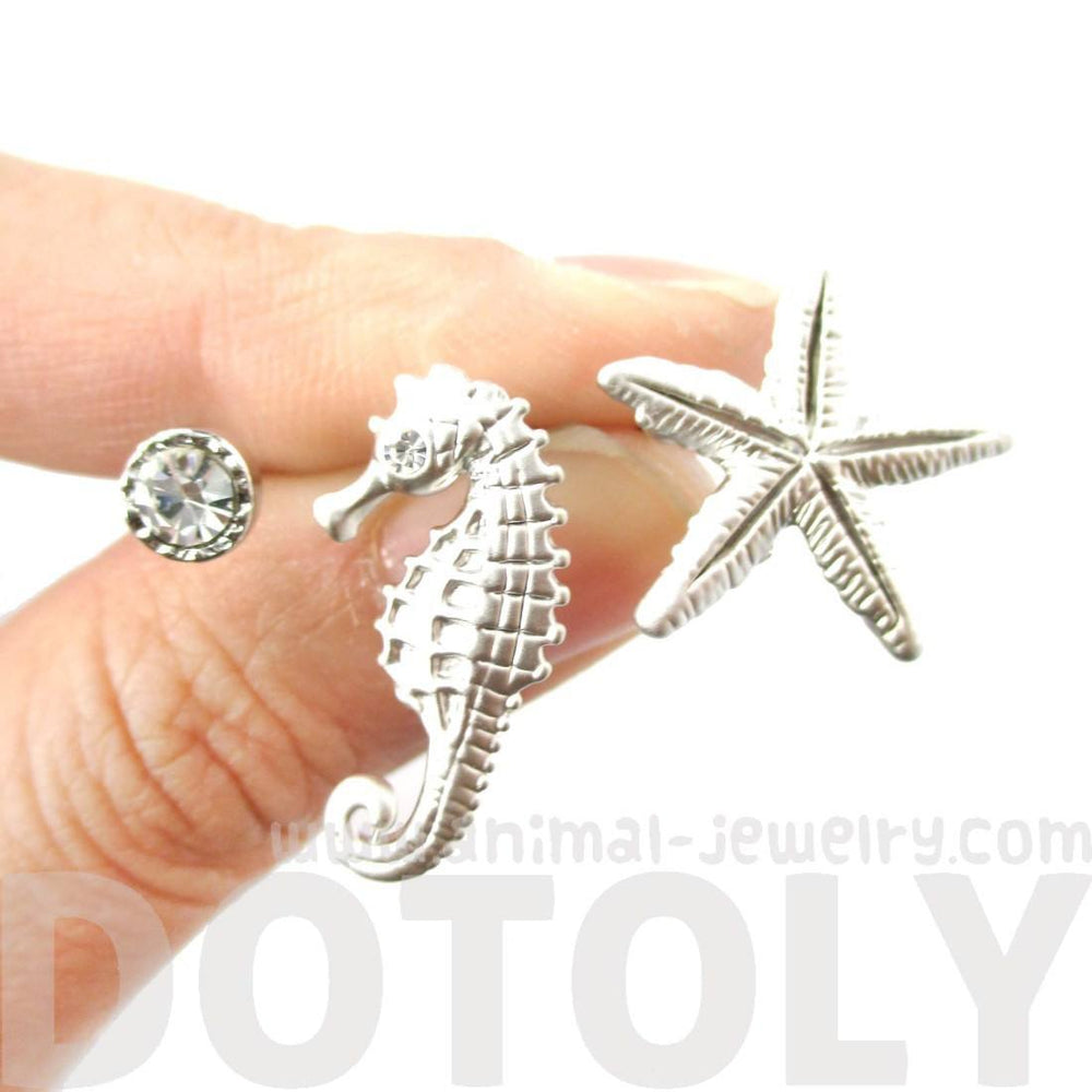 Seahorse Starfish and Rhinestone Allergy Free Stud Earrings in Silver