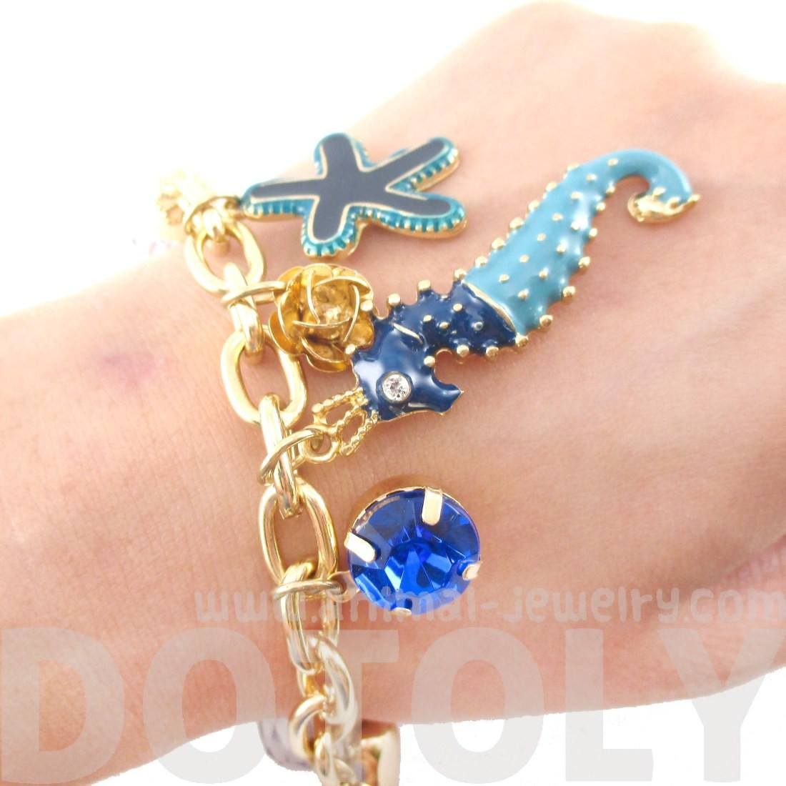 Seahorse Starfish Jewels of the Sea Charm Bracelet