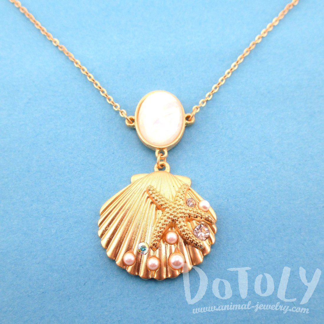 Seashell Starfish Sea Inspired Mermaid Necklace in Gold