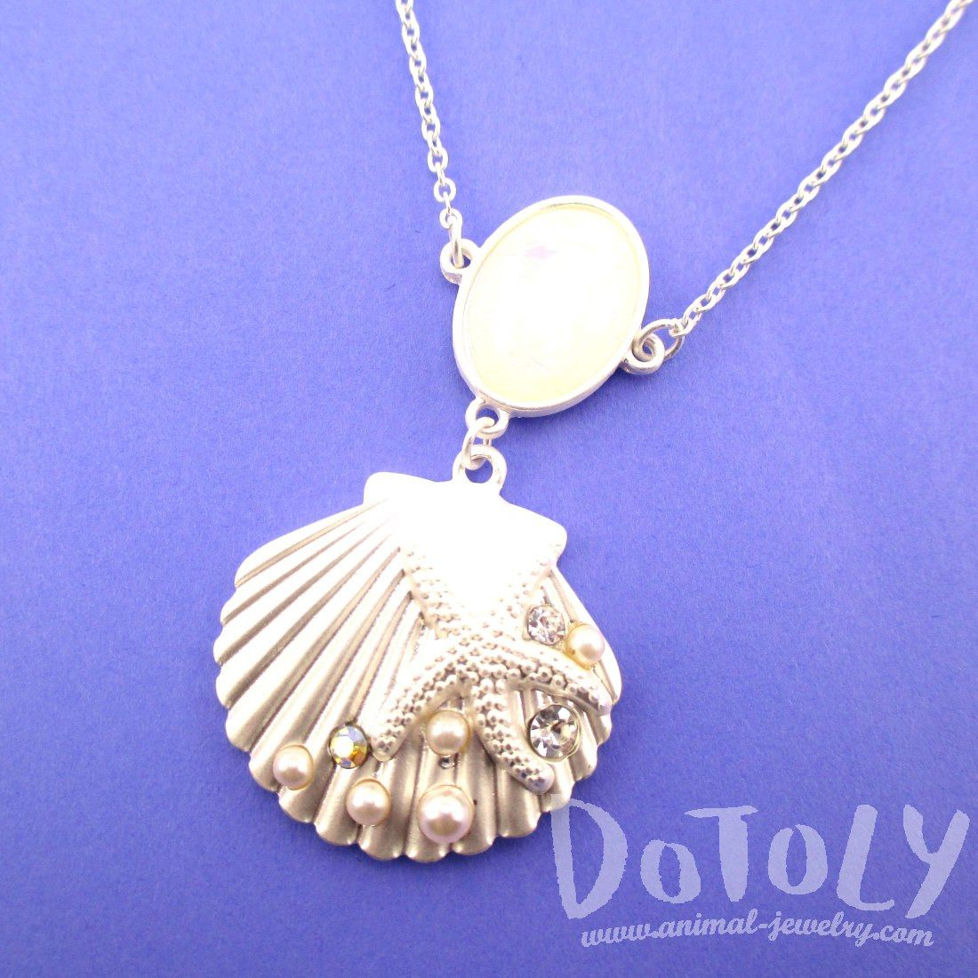 Seashell Starfish Sea Themed Mermaid Necklace in Silver