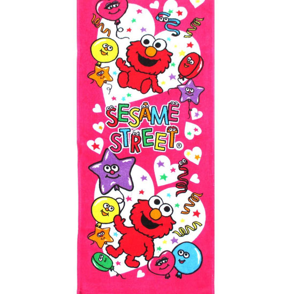 Sesame Street Baby Elmo Heart Print Bath Face Towel Handkerchief in Pink. Adorable Animal Themed Bathroom Decor Towels and More by DOTOLY