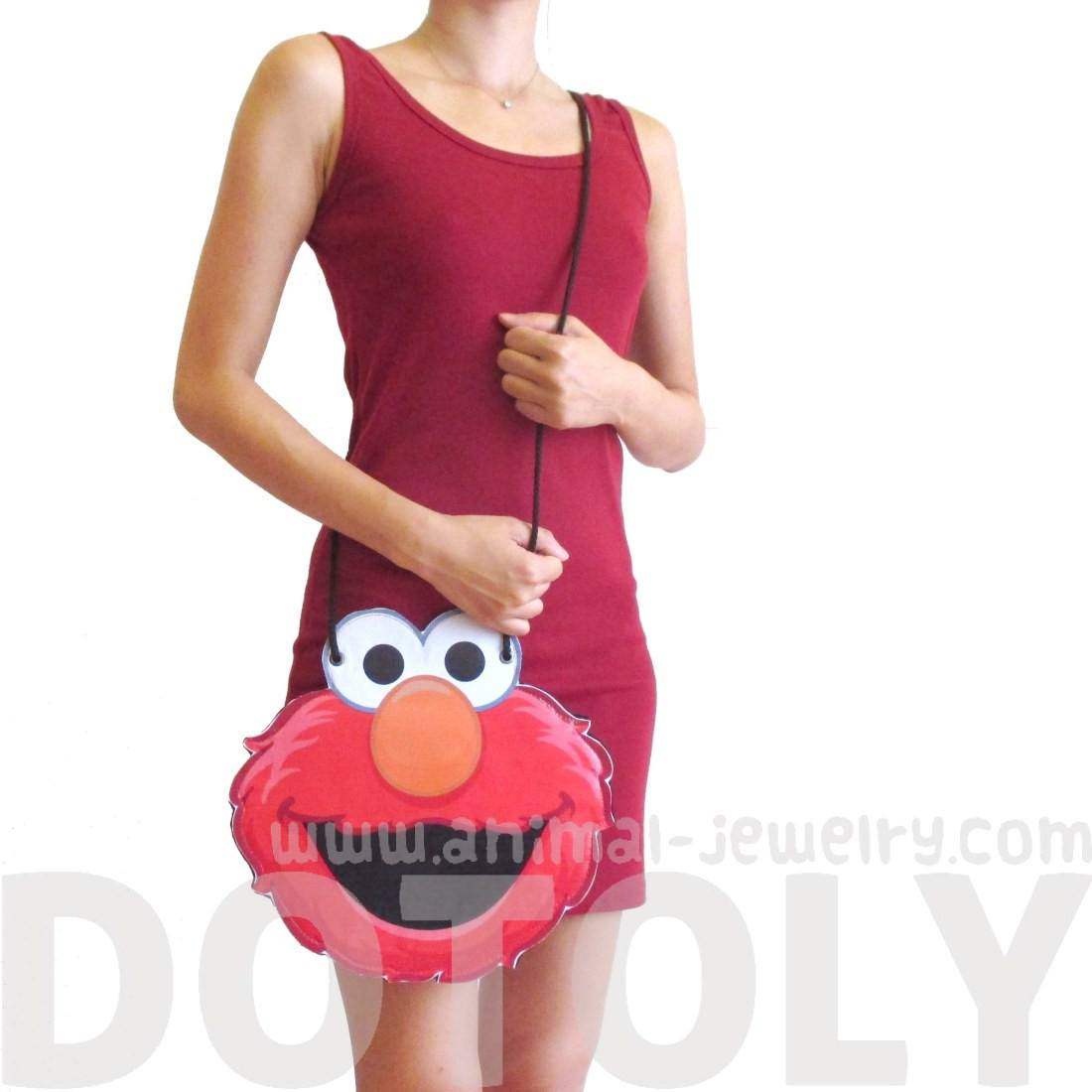 Sesame Street Elmo Muppet Shaped Vinyl Cross Body Bag