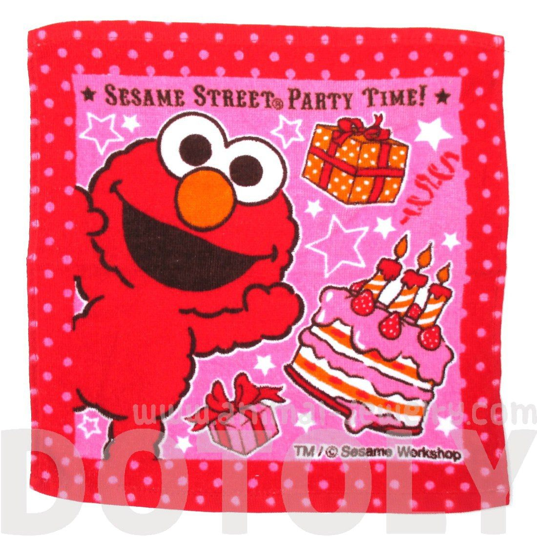 Sesame Street Elmo Red Polka Dot Print Square Face Towel Handkerchief