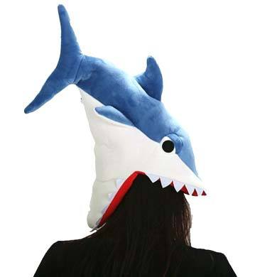 Shark Bite Plush Hat in Blue or Grey | DOTOLY