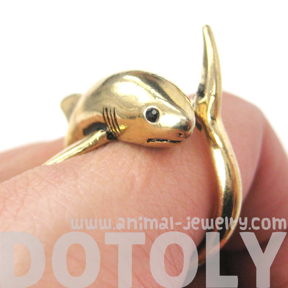 Shark Sea Animal Wrap Around Ring in Shiny Gold | Size 5 to 10 | Shark Week | DOTOLY