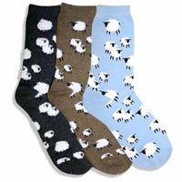 Sheep Farm Novelty Printed Fluffy Long Socks for Women in Light Blue