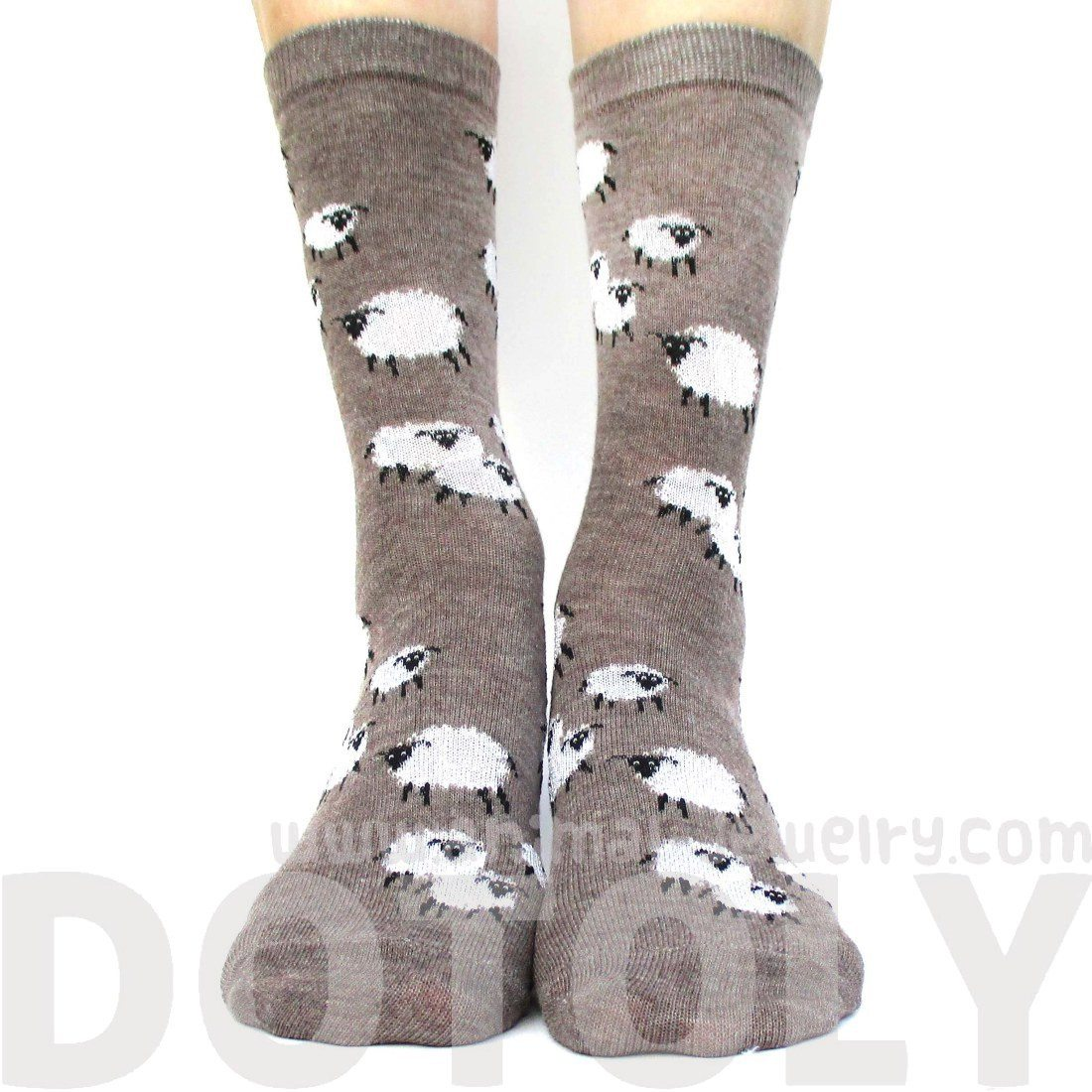 Sheep Farm Novelty Printed Fluffy Long Socks for Women in Light Brown