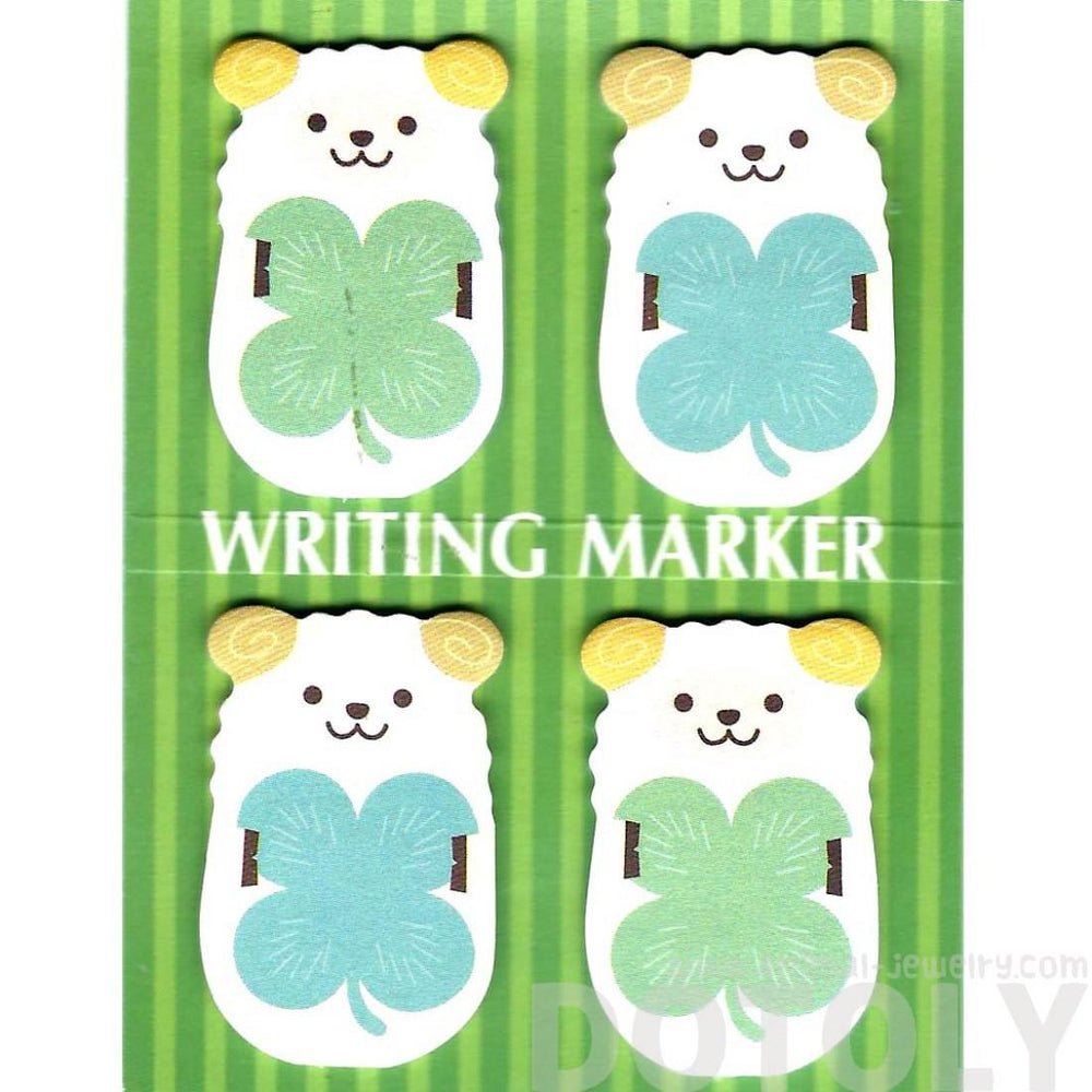 Sheep Ram and Four Leaf Clovers Shaped Animal Memo Post-it Writing Markers | Stationery | DOTOLY