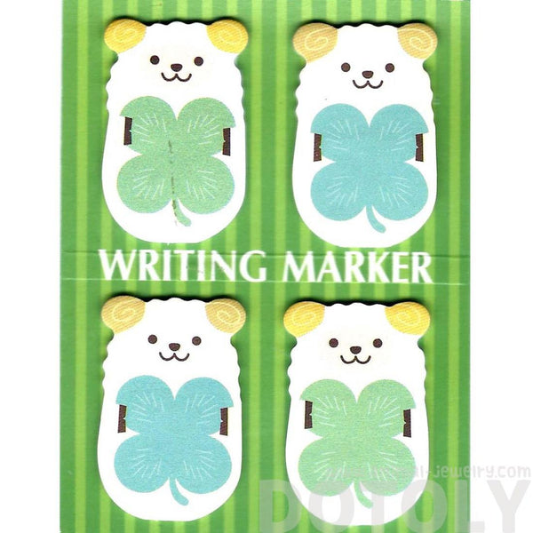 Sheep Ram and Four Leaf Clovers Animal Memo Post-it Writing Markers