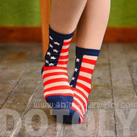 Sheer Patriotism American Flag Star Stripes Print Socks