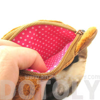 Shiba Inu Dog Face With Big Eyes Shaped Soft Fabric Zipper Coin Purse