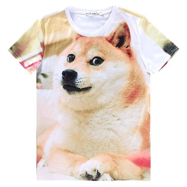 Shiba Inu Puppy Doge Animal Meme Graphic Print T-Shirt