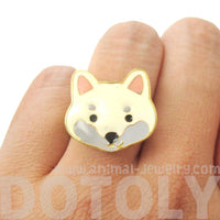 Shiba Inu Puppy Face Shaped Adjustable Animal Ring in White | Limited Edition Jewelry | DOTOLY