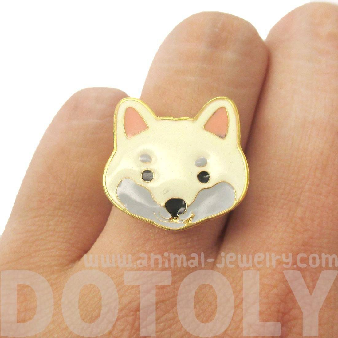 Cute Shiba Inu Puppy Dog Face Shaped Adjustable Animal Ring in White