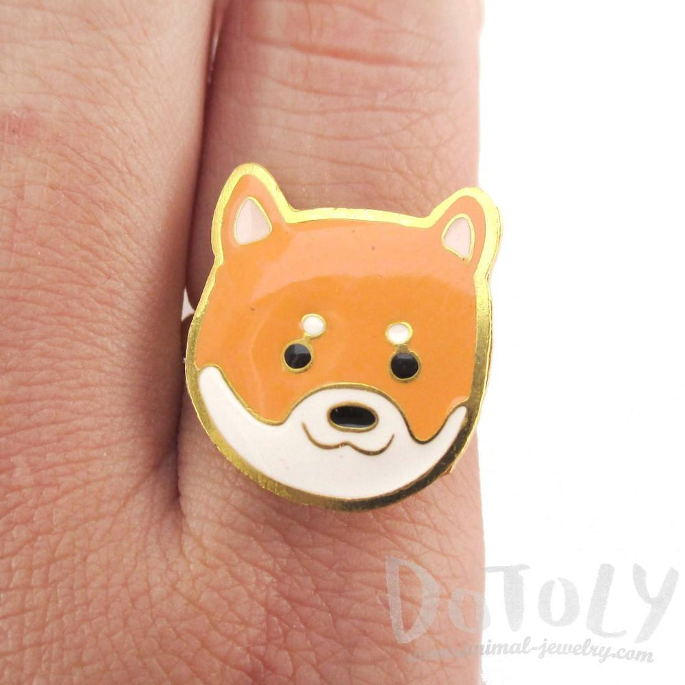 Shiba Inu Puppy Face Shaped Adjustable Animal Ring | Limited Edition