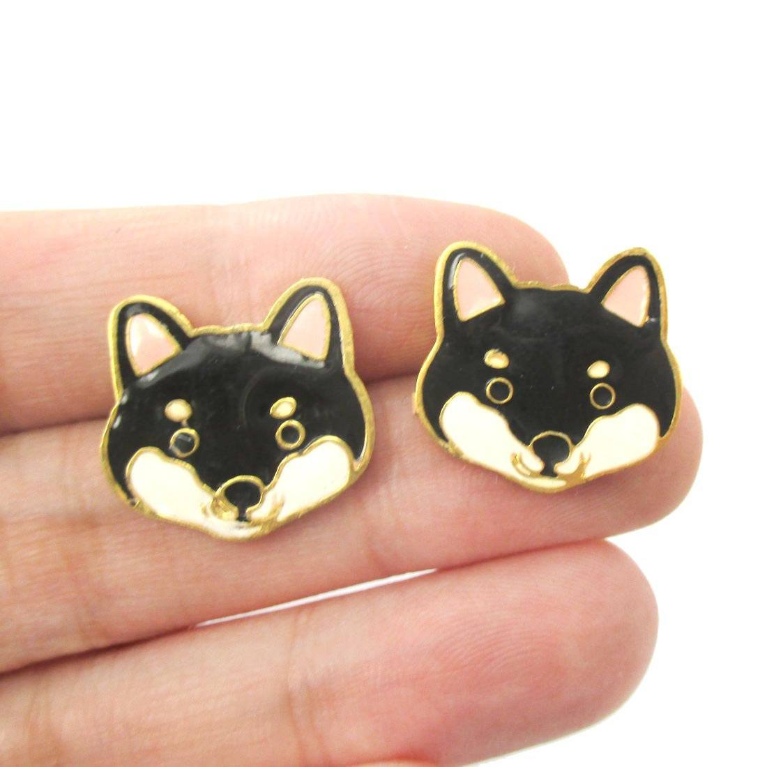 Adorable Shiba Inu Puppy Face Shaped Animal Stud Earrings in Black