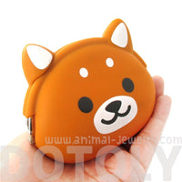 Shiba Puppy Dog Shaped Animal Friends Silicone Clasp Coin Purse Pouch
