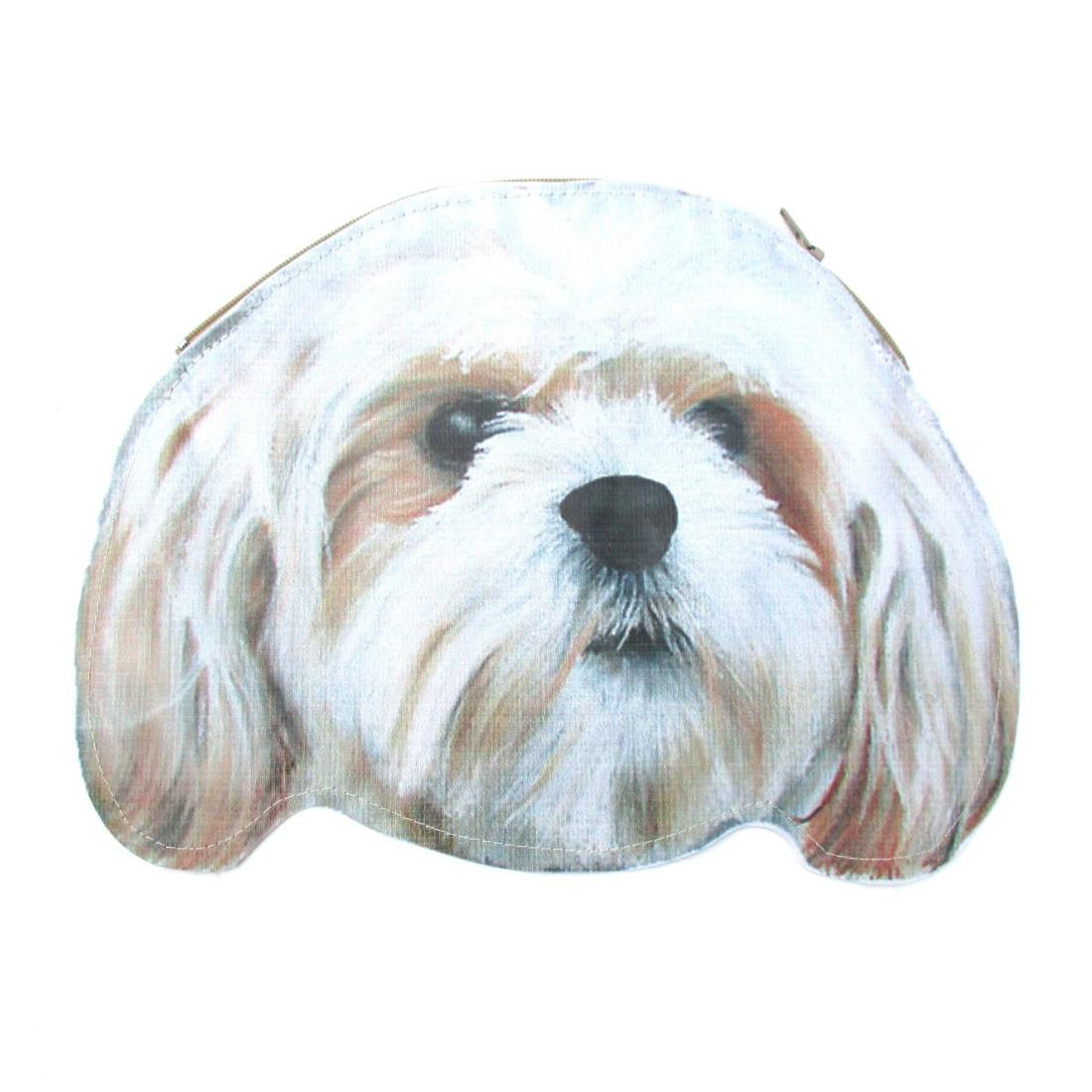 Shih Tzu Puppy Dog Head Shaped Animal Themed Vinyl Clutch Bag | DOTOLY