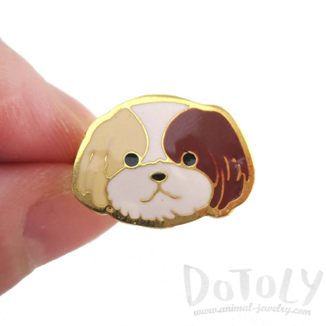 Shih Tzu Puppy Face Shaped Adjustable Animal Ring in Tan | DOTOLY