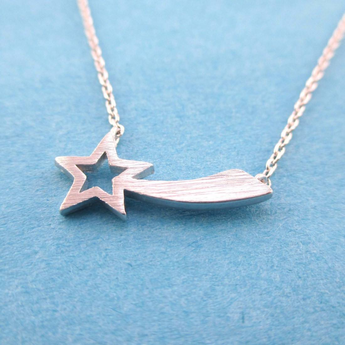 Shooting Star Shaped Make a Wish Pendant Necklace in Silver | DOTOLY