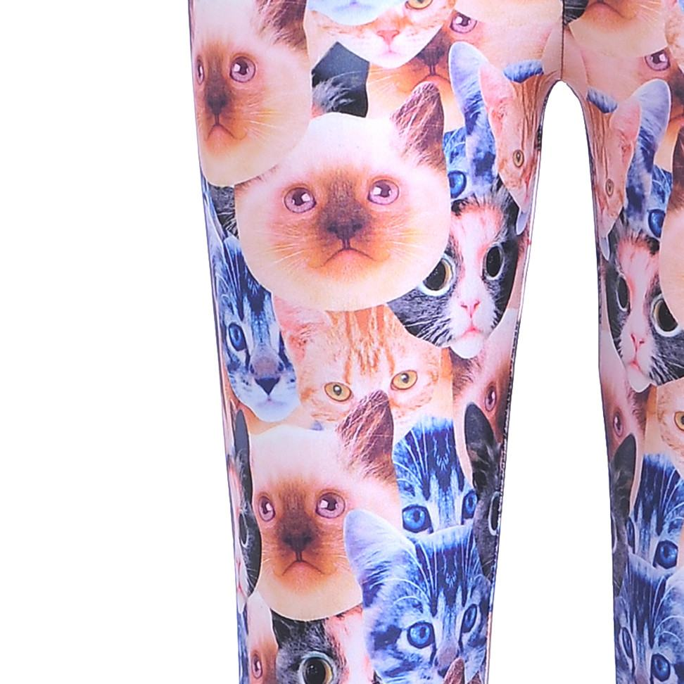 Siamese and Tabby Kitty Cat All Over Collage Photo Print Legging Pants
