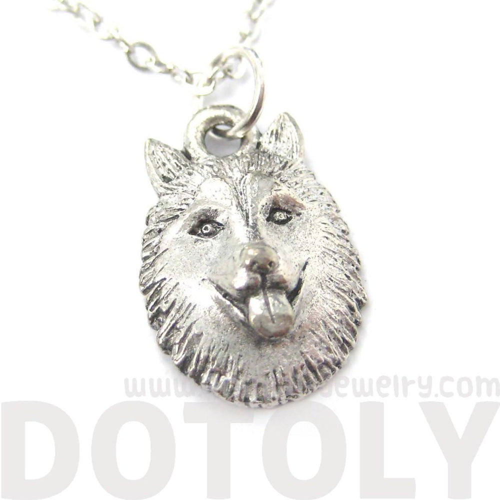 Siberian Husky Puppy Dog Head Shaped Face Charm Necklace | MADE IN USA
