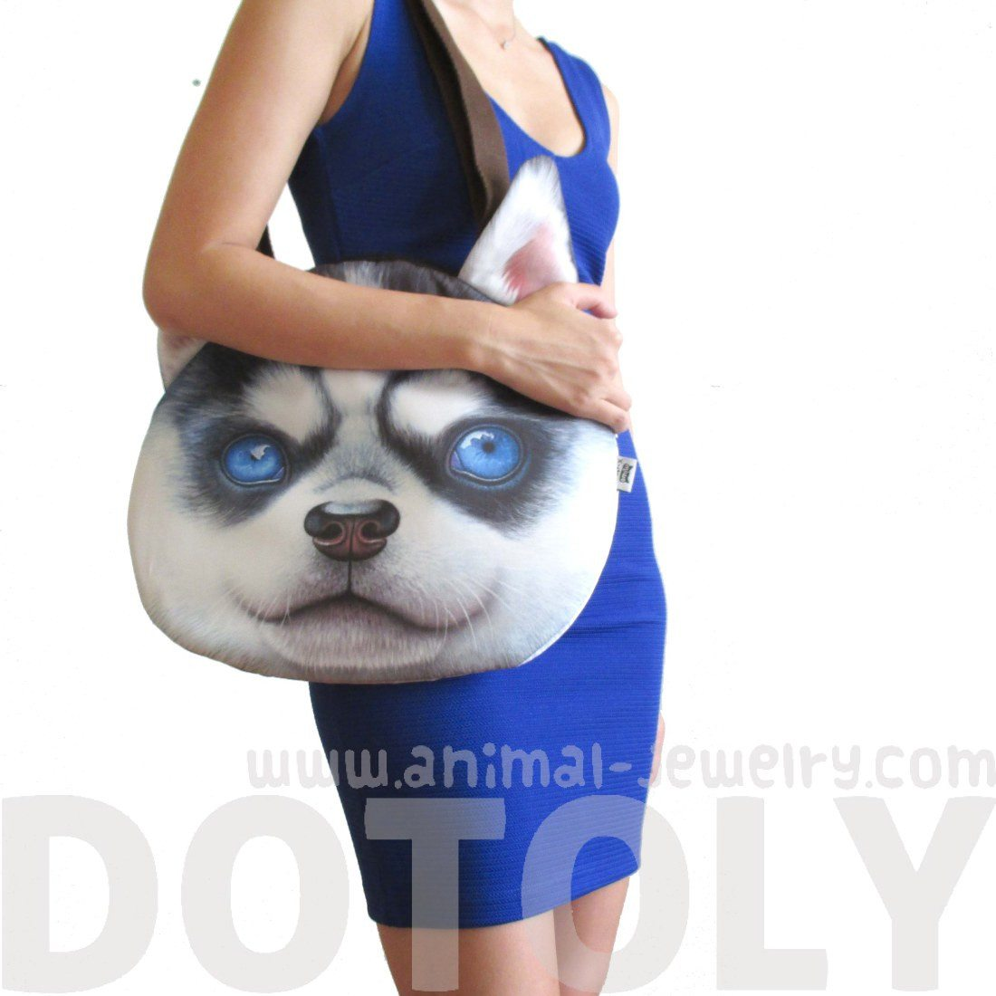 Siberian Husky Puppy Face Shaped Large Shoulder Bag