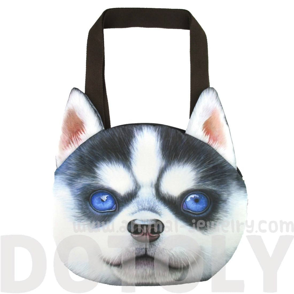 Siberian Husky Puppy Face Shaped Large Shopper Tote Shoulder Bag | Gifts for Dog Lovers | DOTOLY