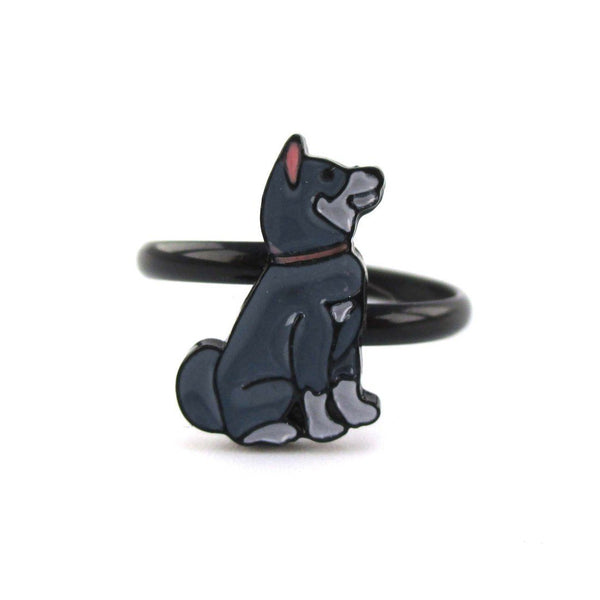 Siberian Husky Puppy Shaped Dog Inspired Adjustable Ring | DOTOLY