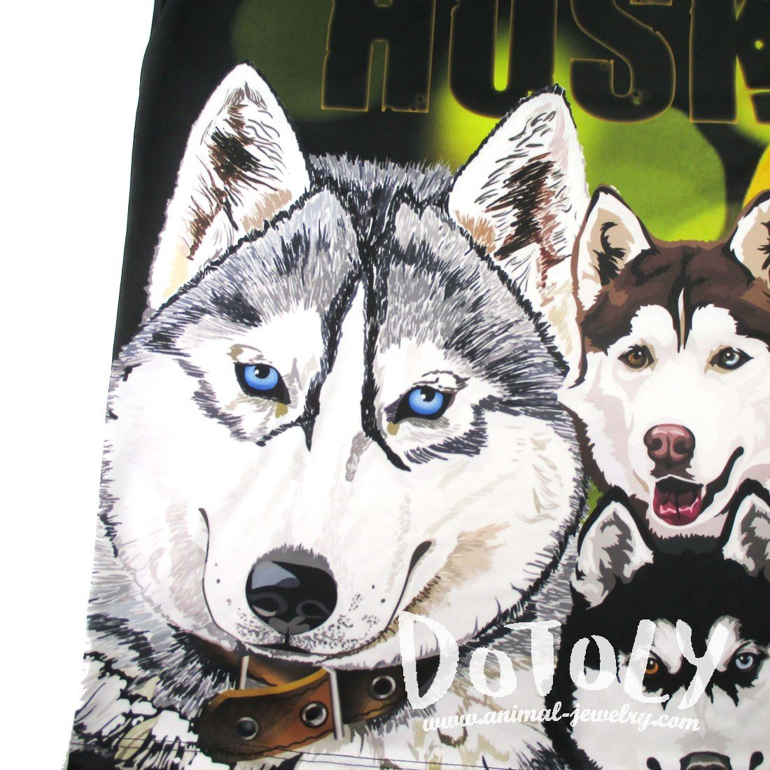 Siberian Husky Themed Graphic Print Oversized Tank Top | DOTOLY